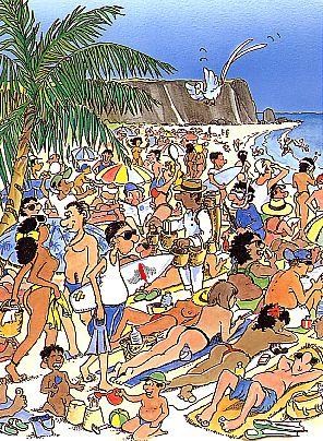 Strand von Boucan Canot in der Hochsaison