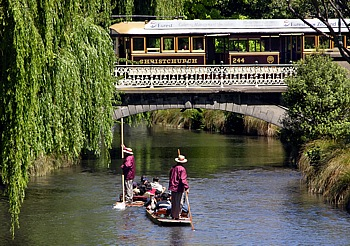 Punting boat trip on the River Avon in Christchurch