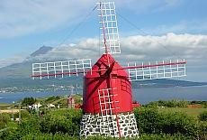 Windmühlen auf Faial, im Hintergrund der Vulkan Pico (März)