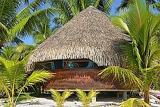 Round Bungalow bei Chez Nono auf Bora Bora (Juli)