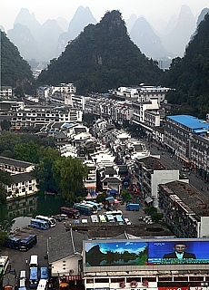Massentourismus in Yangshuo (März)