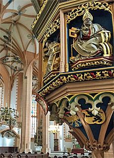 Prediktkanzel in der St.Annenkirche in Annaberg-Buchholz (Februar)