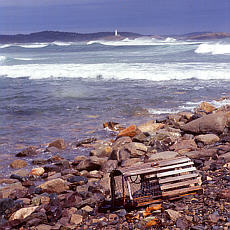 Hummerreuse mit Leuchtturm auf Nova Scotia (Dezember)