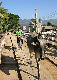 Holzbrücke in Nyaung Shwe am Inle See (April)