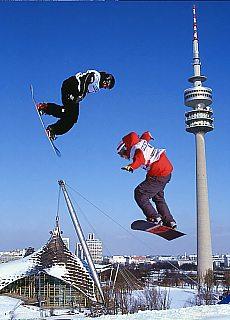 Snowboard auf dem Olympiaberg (Dezember)