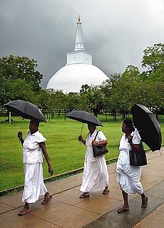 Singhalesische Pilgerfrauen in Anuradhapura (Mai)