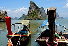 Longtail Boote am Panyee Island (Floating Market) (Mai)