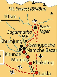 map Annapurna – Everest Comfort-Lodge-Trekking