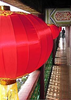 Chinesische Lampions auf dem Trommelturm in Xian (Mai)