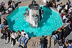 Fischbrunnen am Marienplatz (Juli)