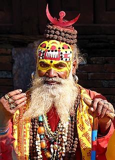Sadu, heiliger Mann in Kathmandu (Dezember)