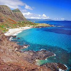 Einsamer Strand am Makapuu Point auf Oahu (Juni)