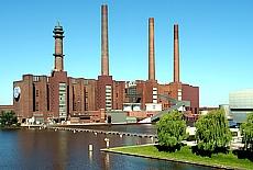 Industriedenkmal VW-Kraftwerk am Mitellandkanal (Januar)